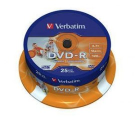 DVD-R 16X 120/4.7G Spind. 25T Wide Printable
